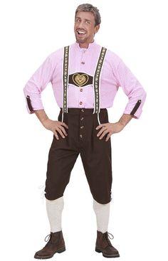 Bayrisches Kostüm für Herren: Dieses bayrische Kostüm für Herren enthält ein Hemd und eine kurze Hose mit Hosenträgern (Socken und Schuhe nicht enthalten). Das rosa-weiße Hemd wird vorne mit Knöpfen zugemacht und hat...