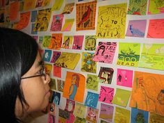Sticky note art---could be a cool collaborative piece, this would be cool for free time art and place on a bulletin board