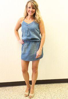 Cinched Waist Denim Dress, $39.95