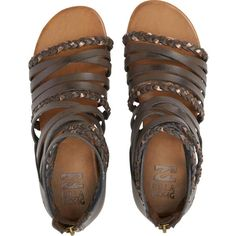 Billabong Women's Sunset Lover Sandals ($50) ❤ liked on Polyvore featuring shoes, sandals, espresso, footwear, flat gladiator sandals, braided strap sandals, summer sandals, flat shoes and summer shoes