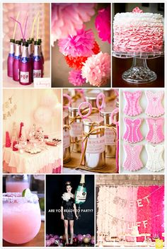 Bachelorette party inspiration from  - love the mini pink champagne bottles super adorable