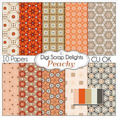 Peachy Digital Scrapbook Paper in Peach by DigiScrapDelights
