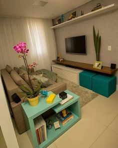 Novel Small Living Room Design and Decor Ideas that Aren't Cramped - Di Home Design Small Living Rooms, Home Living Room, Living Room Decor, Cozy Living, Tv Room Small, Apartment Living, Small Spaces, Furniture For Living Room, Small Living Room Designs