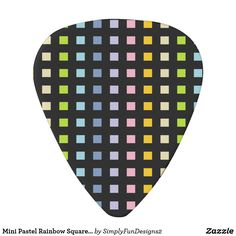 Mini Pastel Rainbow Squares Black Guitar Pick