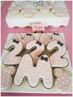 Cookies at a Minnie Mouse birthday party! See more party ideas at CatchMyParty.com!