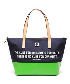 The cure for boredom is curiosity. There is no cure for curiosity. French Navy & Green Small Coal Tote by Kate Spade #zulilyfinds