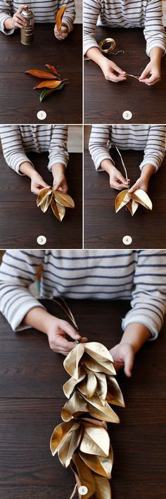 This gorgeous DIY Gold Holiday Laurel Leaf is perfect for year round home decor.