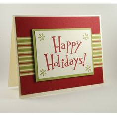 Happy Holidays Handmade Christmas Greeting Card Red and Green | cardsbylibe - Cards on ArtFire