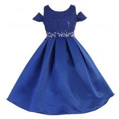 Little Girls Royal Blue Sequins Lace Pattern Rhinestones Off Shoulder Dress 4-6