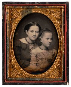 :::::::::::: Antique Photograph ::::::::::::   Quarter Plate Daguerreotype of beautifully posed Sisters.