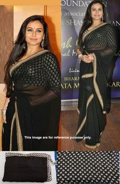 Rani mukherjee in designer black plain georgette saree with gold fancy border by embroidery thread work. Which the actress paired with black sleeves gold brocade work blouse. Bollywood Sarees Online, Bollywood Lehenga, Bollywood Party, Bollywood Dress, Lehenga Saree, Saree Dress, Plain Georgette Saree, Black Saree, Latest Sarees
