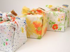 the cutest way to wrap a gift ~ vintage fabrics