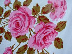 VIntage PiNK Roses Rose Printed Tablecloth by thecherrychic