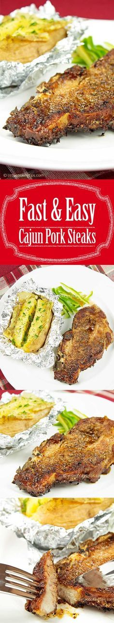 Simple, easy Cajun Pork Steaks. A pork recipe you'll enjoy making again and again, as it takes very little time to prepare and tastes really yummy. Best served with oven baked potatoes or potato salad, this is a fast and easy weekday meal. #pork #steaks #meat #cajun #spices #easy #quick #simple #weekday