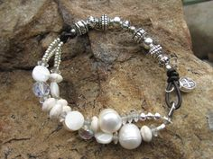 Faith  Leather Pearl Crystal Mix Bracelet Country by fleurdesignz, $32.00