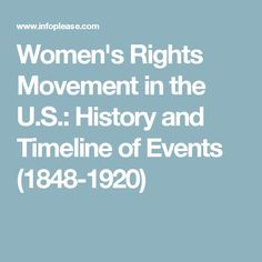 History of the Women's Rights Movement