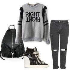 Grey RIGHT Print Lace Embellished Sweatshirt