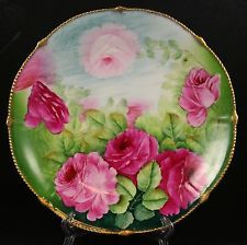 """Beautiful Hand Painted ARTIST SIGNED Gold Rim Rose 9"""""""