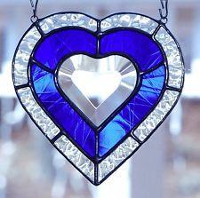 "5 1/2"" Heart Of The Ocean, Stained Glass Window, Cobalt Blue Heart Bevel"