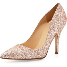 kate spade new york licorice too glittered pointy pump (4 675 ZAR) ❤ liked on Polyvore featuring shoes, pumps, heels, zapatos, rose gold, pointed-toe pumps, pointed toe shoes, metallic pumps, pointy toe shoes e heels & pumps