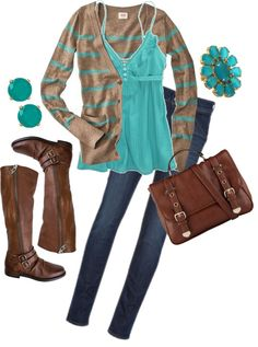 """Brown & Teal"" by karrina-renee-krueger ❤ liked on Polyvore"