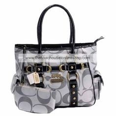 Madison Signature Fabric Tote Silvery With Purse 1912 : Coach Outlet Shop,Cheap Coach Bags & Handbags Online Sale Coach Handbags Outlet, Coach Outlet, Purses And Handbags, Grey Handbags, Ladies Handbags, Burberry Handbags, Handbags Online, Discount Coach Bags, Cheap Coach Bags