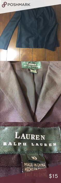 Ralph Lauren blazer Woman's size 10 black shiny-like Ralph Lauren blazer. Sub tub wear. Chest measures 20 inches, length is 23 inches, under arm length is 17 inches. Has pockets. Lauren Ralph Lauren Jackets & Coats Blazers