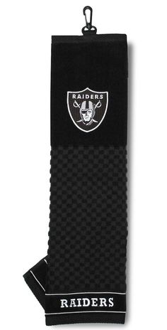 Embroidered 16 x 22 tri-fold embroidered golf towel, with hook and grommet. Nba Merchandise, Golf Towels, Oakland Raiders, Sports Fan Shop, Accessories, Las Vegas, Tri Fold, Ecommerce App, Delivery