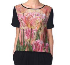 Healing Tulip Garden Women's Chiffon Top featuring the art of Carol Cavalaris.