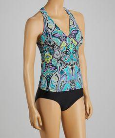 Look what I found on #zulily! Aqua & Purple Marrakesh Halter One-Piece by It Figures! #zulilyfinds