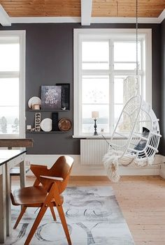 Grey walls, bright white trim, cedar ceiling