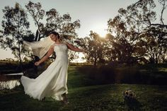 Erica having sooo much fun in her 'Valentina' gown from Bertossi Brides at Paddington Weddings, created in pure Italian silks and lace just for her here in Paddington, Brisbane. www.paddingtonweddings.com.au Image by Annielyn Images