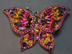 Удивительный большой Juliana Delizza & Elster со стразами фигурный бабочка брошь! Вау   Украшения и часы, Винтажные и антикварные украшения, Бижутерия   eBay!