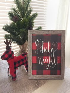 Oh holy night Buffalo Check Christmas Calligraphy