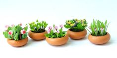 English Cottage Garden Miniature Polymer Clay Flowers Supplies for Dollhouse 5 pcs. $19.50, via Etsy.