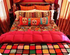 Day of the Dead bedroom in the making! Home Design, Interior Design, Modern Design, Hm Deco, Home Bedroom, Bedroom Decor, 70s Bedroom, Skull Bedroom, Deco Boheme