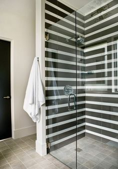 Today I am feeling stripes, like a zebra, only colourful and measured! {Hazel Loves Design} A fabulous monochromatic black & white bathroom and all glass shower space.