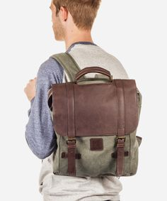 The Alvin #Backpack is a #canvas backpack with an animal-friendly pleather flap that completes its rugged #look. For the everyday explorer, it's an easy way to bring everything on the road with you.  — Rolled Top Handle  — 2 Shoulder Straps  — Flap Top  — 2 Strap and Buckle Closures  #Fashion #Menswear #Style #Shop #Shopping #Top #Collection #Label #Brand #Designer #Shirt #Appare #Male #Mens #Clothing #Clothes #Bags