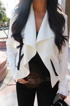 White blazer & Black Skinnies.