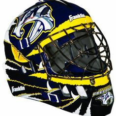 """NHL Nashville Predators SX Comp GFM 100 Goalie Face Mask by Franklin. $39.99. Show your team spirit with the Franklin Chicago Blackhawks NHL Team Goalie Mask Emblazoned with officially licensed team logos and colors and featuring High impact ABS Plastic. Anatomically designed for safety and comfort with adjustable quick-snap straps to ensure proper fit. Sized for kids ages 5-9 and only for street hockey use. Not intended for ice hockey or any type of \puck\"""" play."""""""
