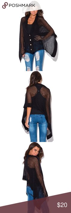 Button Down See Through Poncho You'll be amazed at the softness of this cute and cozy poncho! Light weight see through knit makes this cute poncho Great for all seasons, throw it over your little black dress for chilly Summer Night, or over a bathing suit for A romantic walk while watching sunsets by the beach, then in fall, you can also layer it over a shirt and skinny jeans for a trendy outfit. Imported. One size fits Most. This item is not branded and comes with no tags Sweaters Shrugs…