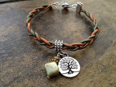 Beautiful braided leather bracelet with Tree of by DesignsforLJJ, $22.00