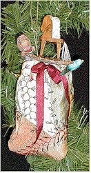 Santa's Pack Crazy Quilt Ornament Designed by J Marsha Michler