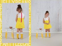 I like this fun little girls' dress pattern by Pixel Patterns in Kona Cotton Canary with white contrast and pink zipper.