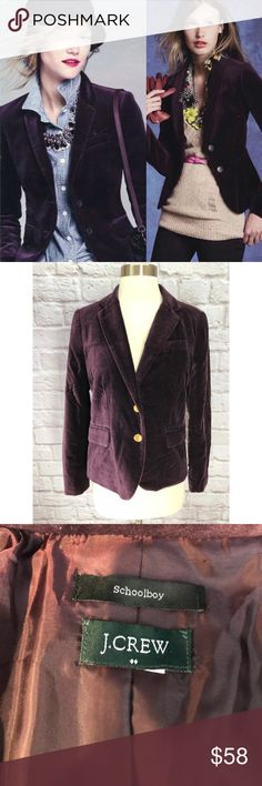 •J. Crew Factory• Schoolboy Blazer Plum Velvet Excellent Condition! Size Tag was removed so refer to actual measurements! My dressform is also a size 2-4 and it fits perfectly! Pit to pit laid flat is 17 Inches across and the overall length in 23 Inches long! Beautiful purple color! Please feel free to ask any questions or make an offer! All prices are negotiable! J. Crew Factory Jackets & Coats Blazers