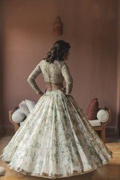 Looking for Sabyasachi floral print lehenga for engagement? Browse of latest bridal photos, lehenga & jewelry designs, decor ideas, etc. on WedMeGood Gallery. Indian Wedding Planning, Indian Wedding Outfits, Bridal Outfits, Indian Outfits, Indian Clothes, Indian Weddings, Desi Clothes, Dress Outfits, Fashion Dresses