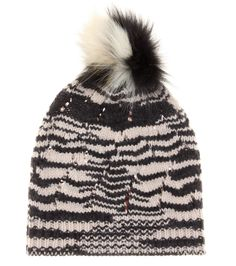 Missoni - Knitted wool-blend hat with fur - With a hat as chic as this, you'll be looking forward to chilly days. Missoni offers this lightweight wool-blend hat in a striped black and beige knit. With a slouchy fit and black and white fox fur pompom, it'll be your favourite piece to slip on for a low-key yet luxe look. seen @ www.mytheresa.com
