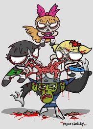 Powerpuff Girl Zombies and Mojo-jo-jo