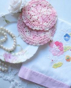 Tea Towel Doilies Set of Three Crochet Pink by mailordervintage