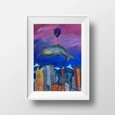 Digital download - Whale floating over city of Denver, baby nursery wall decor, chalk pastel